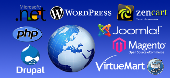 Wordpress, Joomla, Magento Shopping Cart, Drupal, zencart website development