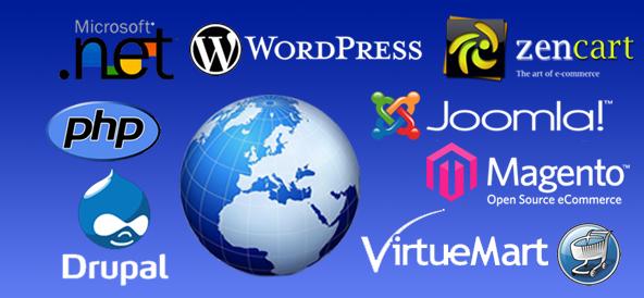 Wordpress, Joomla, Magento Shopping Cart, Drupal, zencart website development